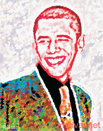 Barak Obama Digital paintings By Dr.Omidvar