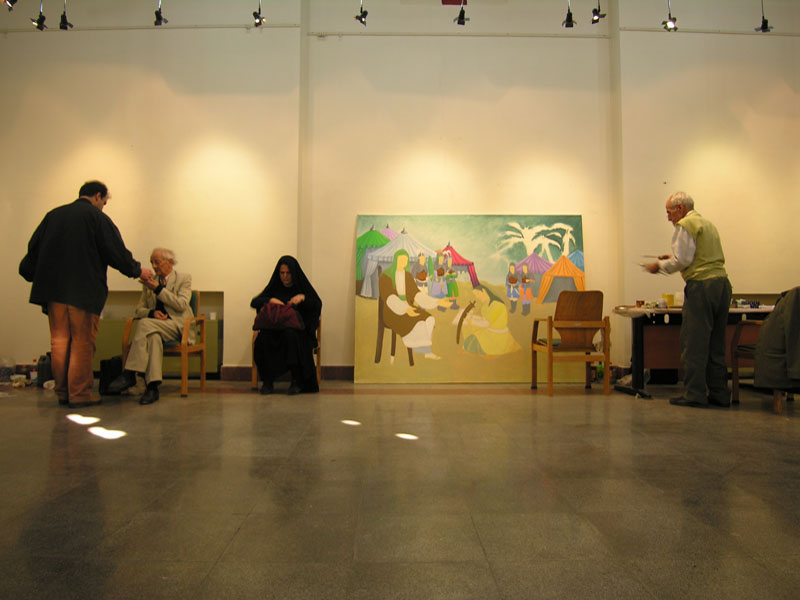 Iranian Traditional Artist-painting-gahve khaneh(coffee house) Saba Gallery of Tehran photographer: Ata Omidvar 2007