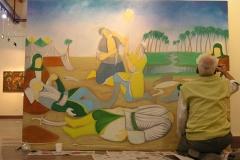 Iranian Traditional Artist-painting-gahve khaneh(coffee house) Saba Gallery of Tehran photographer: Ata Omidvar 2007